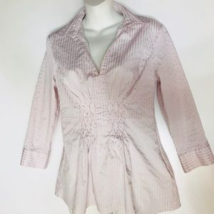 New York & Company stretch blouse pink striped
